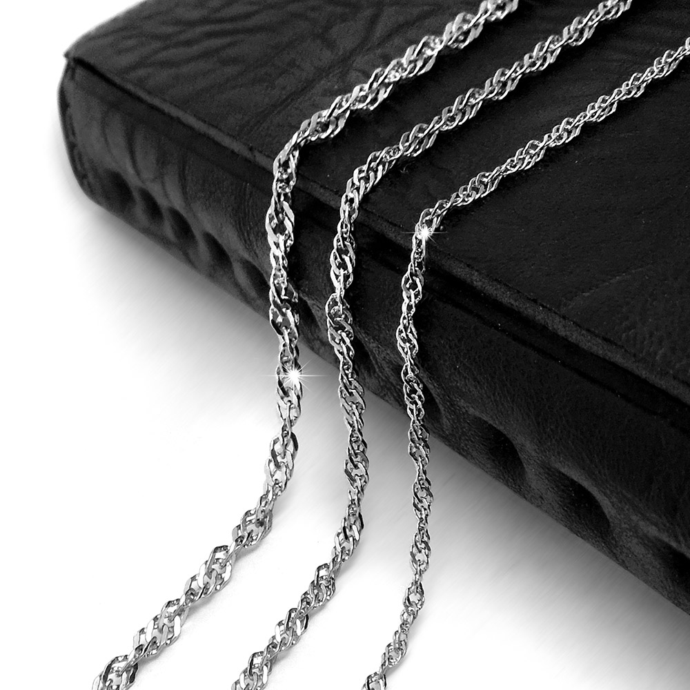 2016 Korean Style Fashion 316L Titanium Stainless Steel Silver Color Water wave Chain Necklace Couple Necklace for Men Women(China (Mainland))