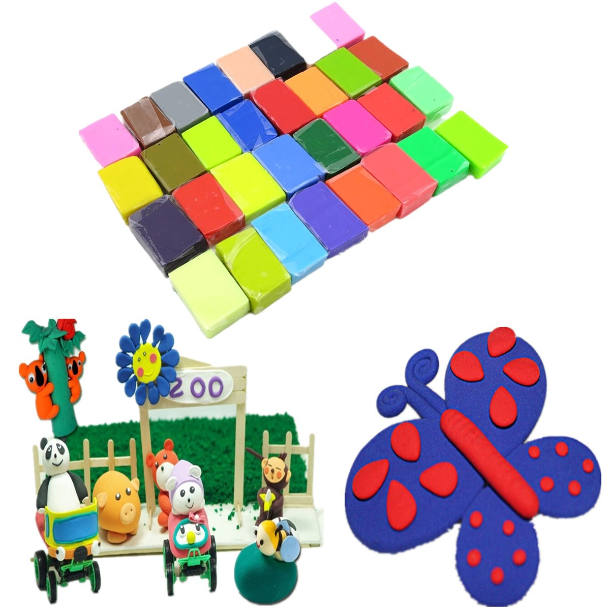 32 Colors Blocks Soft For Fimo Effect Polymer Modeling Clay Colorful Blocks Plasticine For Kids(China (Mainland))