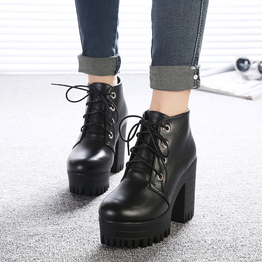 Free shipping 2015 new autumn shoes black ultra high heels thick heel boots lacing platform ankle boots women size 35-39(China (Mainland))