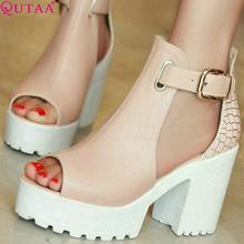 QUTAA Fashion Ladies Summer Shoes Square High Heel PU leather Peep Toe PatChwork Woman Pumps Ladies Wedding Shoe Size 34-43(China (Mainland))