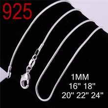 $ 0.33 factory snake chain men women 16 18 20 22 24 inches 925 sterling silver 2 years guarantee cupper alloy Necklace jewelry(China (Mainland))