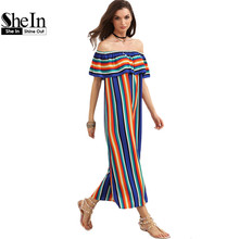 SheIn Women New Summer Beach Casual Long Dresses Ladies Multicolor Striped Short Sleeve Off The Shoulder Ruffle Dress(China (Mainland))