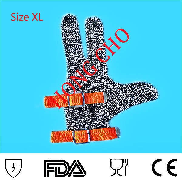Three finger steel mesh cutting glove labor protectionPlus size XXS to XXL Orange(China (Mainland))