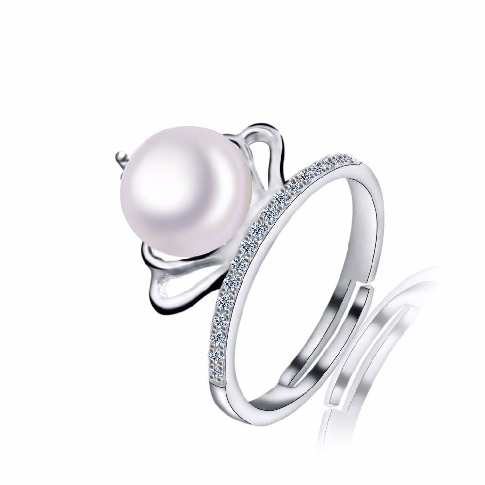 New Arrival Imperial Crown Ring 18k White Gold Plated Micro-inserts Crystals Imitate Pearl Ring For Women Wedding Jewelry Bijoux(China (Mainland))
