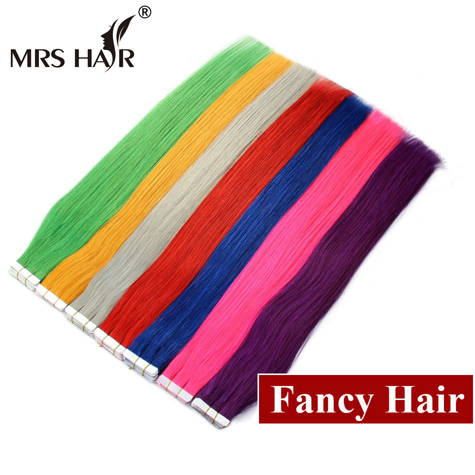 """22"""" Pink Hair On Tape Purple Extensions Straight Blue Human Hair 20pcs Blue Tape In Hair Extensions Silver Hair Orange Green(China (Mainland))"""