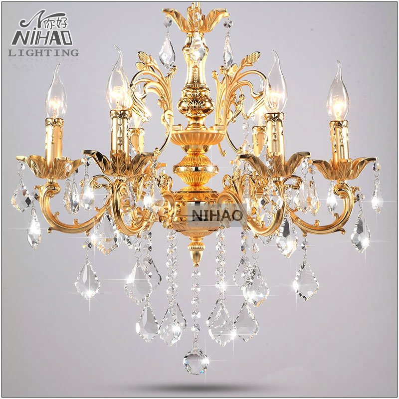 Chandelier vintage room light fixture classic design crystal chandeliers gold lustre lamp for - Dining room crystal chandelier ...