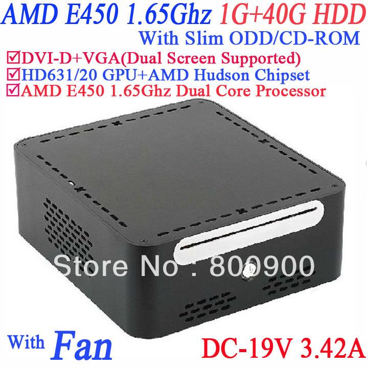 2013 new mini computer with DVI-D 19V-DC Slim ODD CD-ROM 1G RAM 40G HDD AMD APU E450 1.65GHz Radeon HD6310 core windows or linux(China (Mainland))