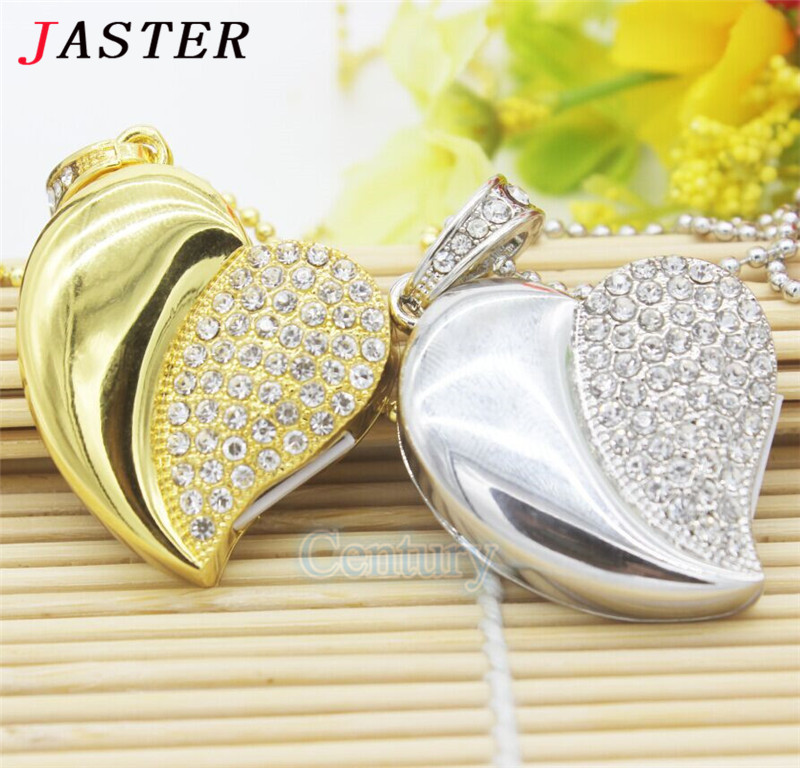 JASTER Diamond crystal heart usb flash drive USB 2.0 Memory Stick pendrive 8GB 16GB 32GB mini luxury necklace pendrives(China (Mainland))