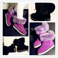 Mujeres Botas de invierno zapatos moda Mujer Botas Mujer nieve de la piel de cuero de gamuza botín talones planos calientes zapatos Mujer súper ventas(China (Mainland))
