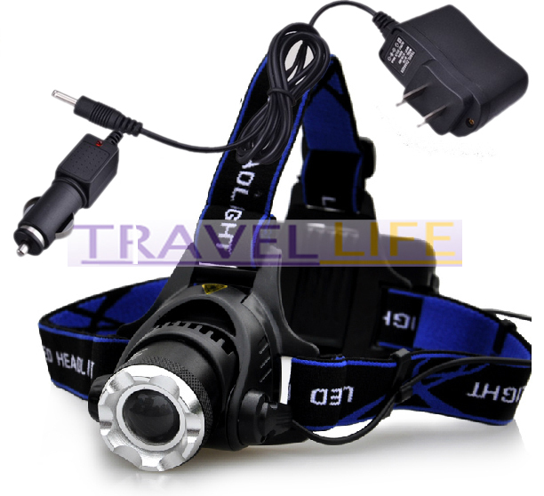 2000Lm CREE XM-L XML T6 LED Headlamp Rechargeable Headlight+ Charger +Car Retail Box - Pomato Technology Co., Limited store