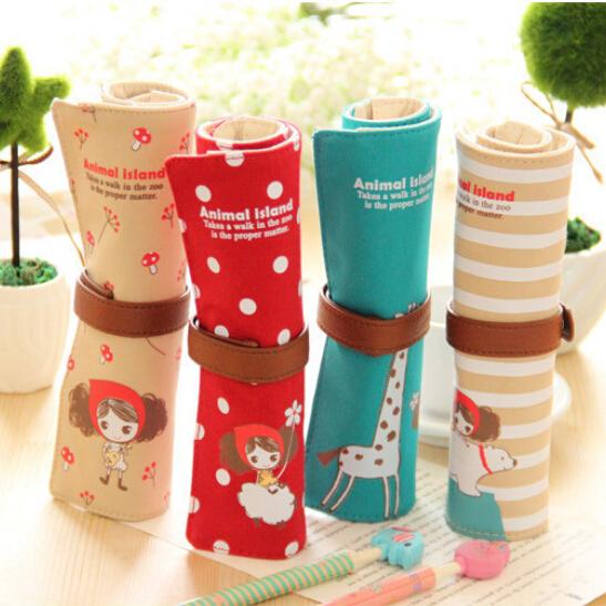 Cute Kawaii Cartoon Canvas Roll Pencil Case Lovely Fabric Roller Girl Pen Bag for Kids School Supplies Free shipping 116(China (Mainland))