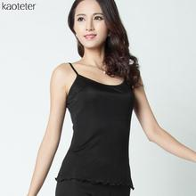 100% Pure Silk Women Camisoles Sexy Simple Sleeveless Camis Tank Tops Casual Thin Base Bottoms Black Slim Vest Female Underwear