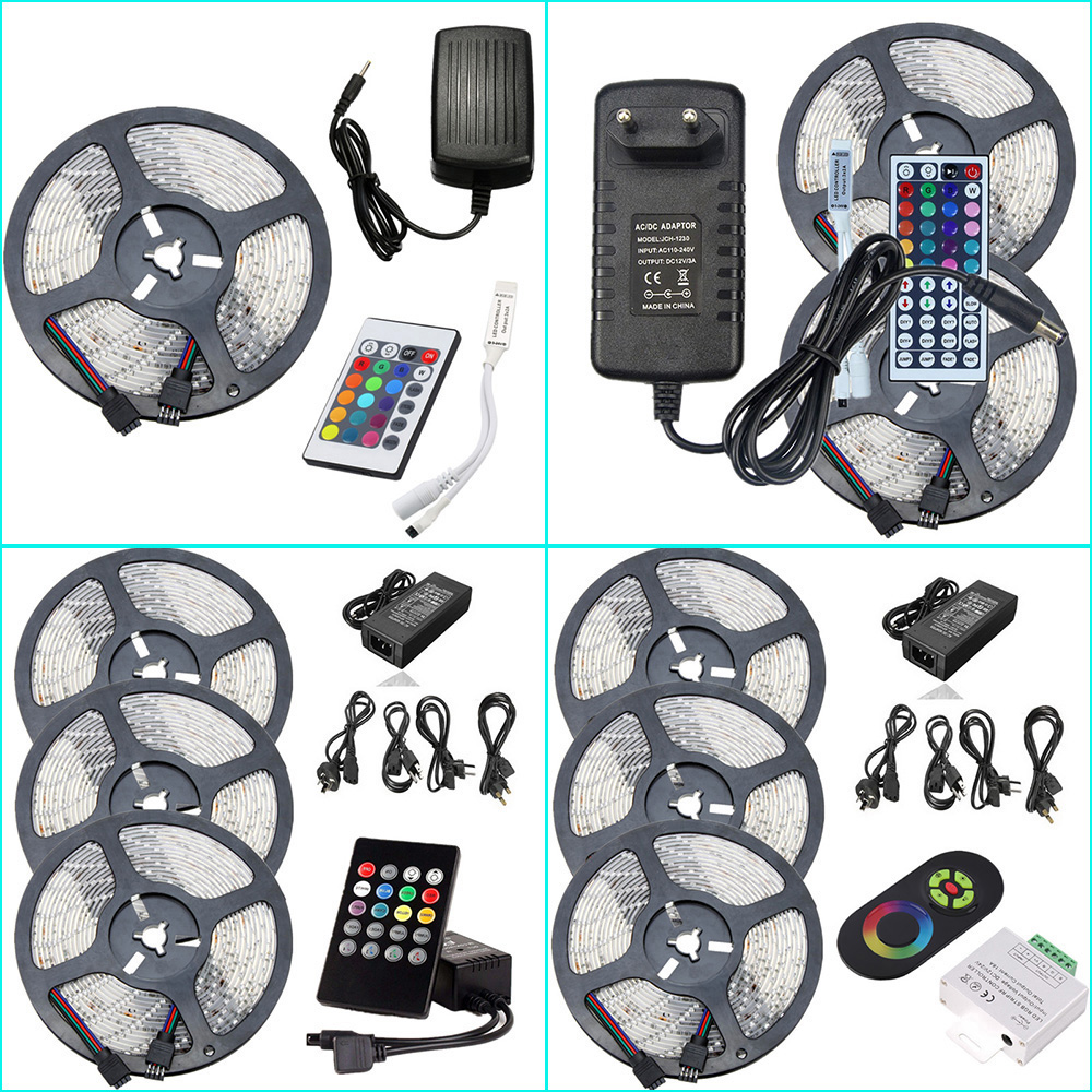 SMD 2835 Waterproof RGB LED Rope Light DC 12V Low Voltage LED Strip Lighting 5m 10m 15m Kit With IR Music LED Controller&Power(China (Mainland))