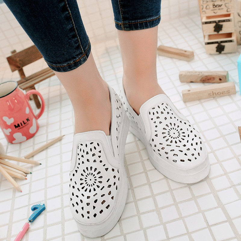 ENMAYDA New Women Spring and Autumn Cut-outs Round Toe Flats Shoes 3 Colors White Shoes Woman Size 34-39 Slip-on Loafers Flats