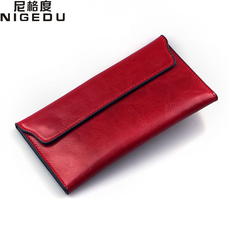 NIGEDU Brand Genuine Leather Women Wallet Long thin Purse Cowhide multiple Cards Holder Clutch bag Fashion Standard Wallet(China (Mainland))