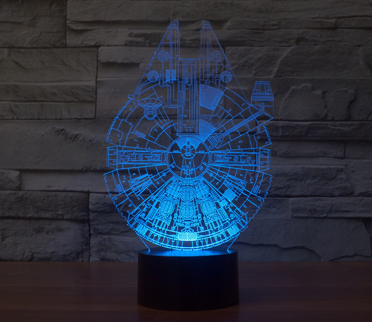 Star Wars BB8 droid 3D Bulbing Light toys 2016 New 7 color changing visual illusion LED lamp Darth Vader Millennium Falcon toy(China (Mainland))