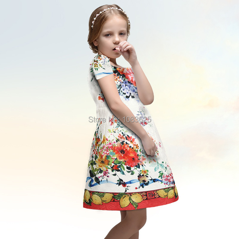 HOT sell brand Girl summer Dress girl Floral dress flower Print dresses Brand Kids girl Dress New European girl Princess Dresses<br><br>Aliexpress