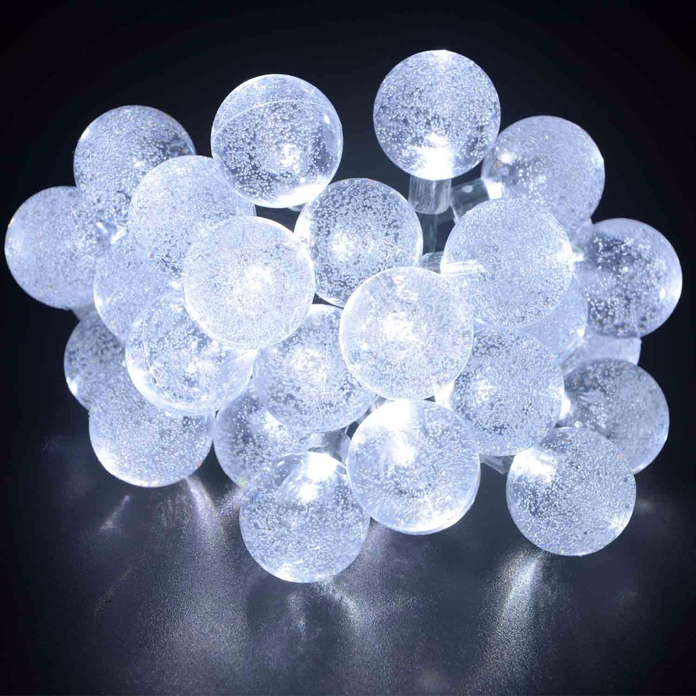 USA In Stock 10pcs/lot Globe Outdoor Solar String Lights 30 LED Crystal Waterproof White Fairy Light Garden Decoration Outdoor(China (Mainland))