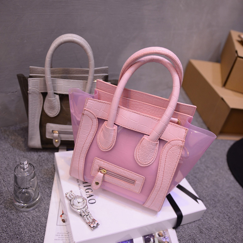 New Women Summer Handbags, Candy Color Transparent Jelly Bags, Trapeze Shape Beach Bag, Women Leather Bags A25(China (Mainland))