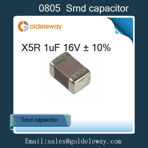 Free shipping 100pcs/lot 1uF X5R Error 10% 16V 0805 SMD Chip Multilayer Ceramic Capacitor good quality supplier(China (Mainland))