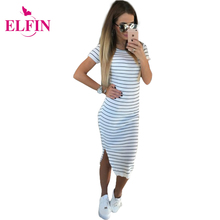 Buy Casual Summer Women Dress Short Sleeve Round Neck Slim Fit Bodycon Dress Striped Side Split T Shirt Womens Dresses LJ3904R for $8.89 in AliExpress store