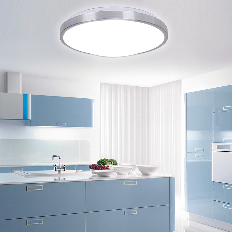 Led Ceiling Lights For Kitchens : Modern aluminum acryl silver border led ceiling