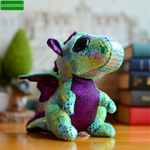 Buy Hot Green Dragon Beanie Boos Big Eyes Kids Stuffed Ty Plush Toys Sparkle Cinder Stuffed Animals Dolls Lovely Children Xmas Gifts for $11.04 in AliExpress store