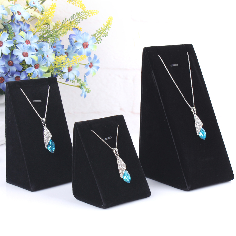 Velvet Feeling 1 set order of 3 sizes S M L Necklace Jewelry Store display charm jewelry box stand pendant chains holder(China (Mainland))