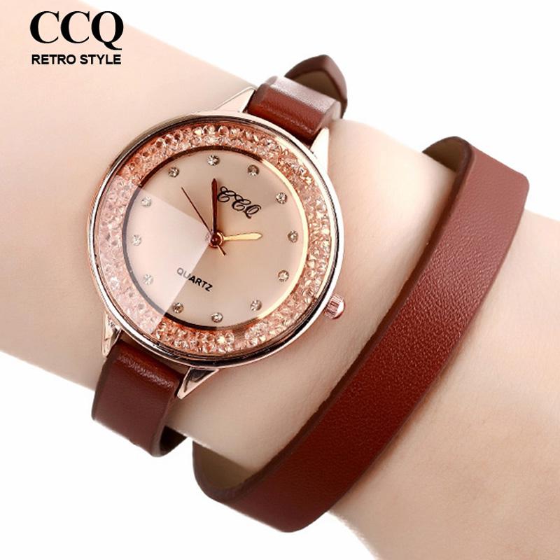 2016 Hot Fashion Women Dress Watches Long PU Leather Strap Watch Rhinestone Quartz Wrist - ToMoNo store