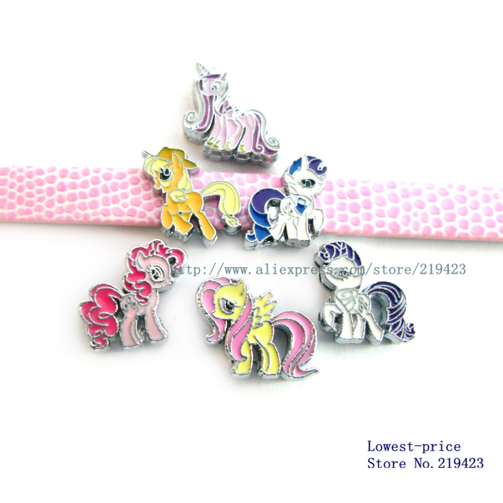 Free shipping! 100pcs mix style my little ponys 8mm DIY Accessories slide Charms Zinc alloy fit 8mm belt wristband SL003(China (Mainland))