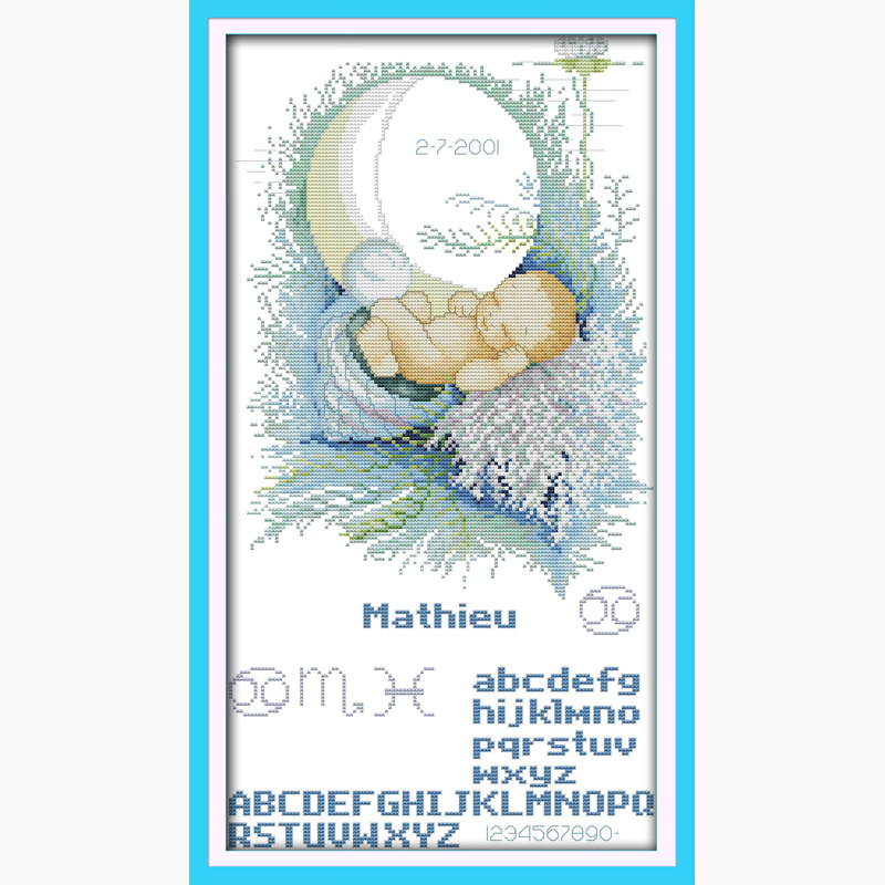 Baby moon birth record cartoon Cross-Stitch Europe Needlework,DIY DMC Cross Stitch,Sets For Embroidery kits,Printed 11ct Counted(China (Mainland))