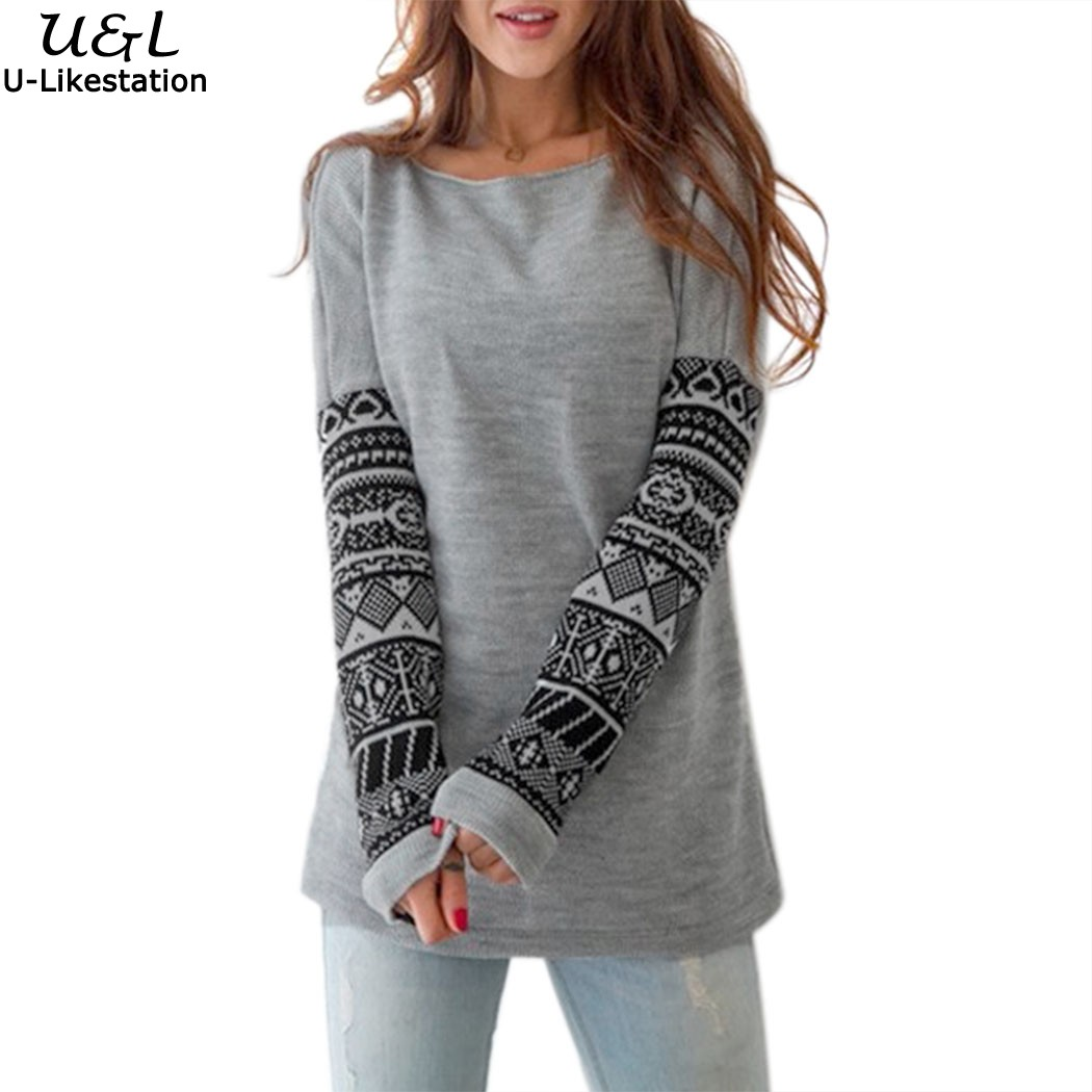 Stylish Women Round Neck Long Sleeve Print Pullover Outwear Casual Sweatshirt Tops Hoodie Gray S-XL