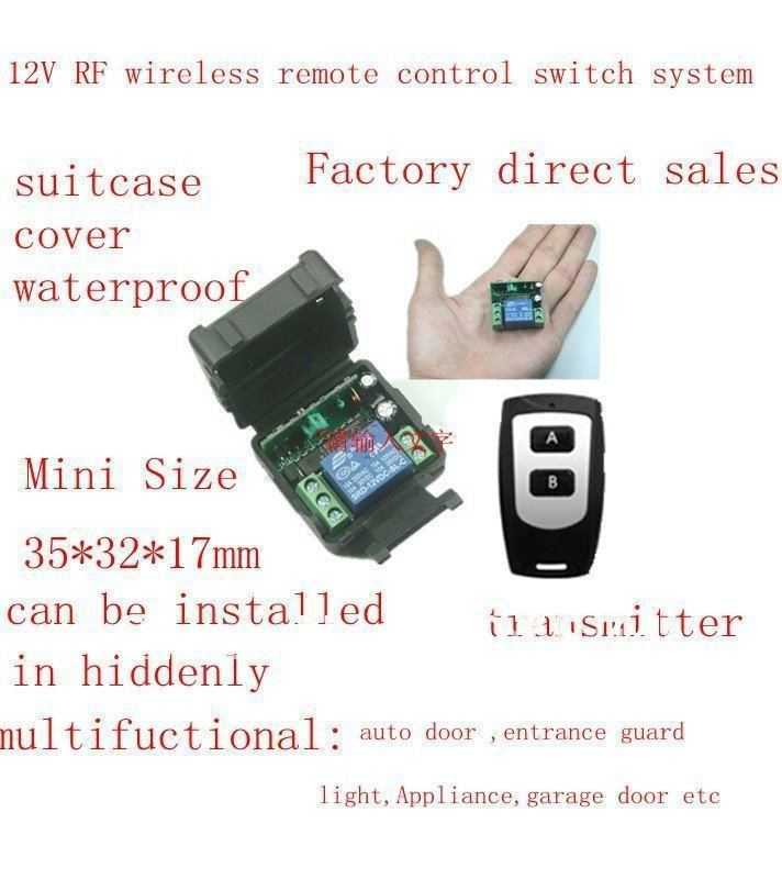 EMS/ DHL Free Ship 100Units 12V Mini Waterproof Wireless Remote control system Switch/ Tansmitter and Receiver 315/433MHZ<br><br>Aliexpress