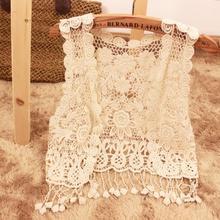 2015 Year Hot ladies sleeveless lace fringed vest tops women summer cardigan knit jacket -6369(China (Mainland))