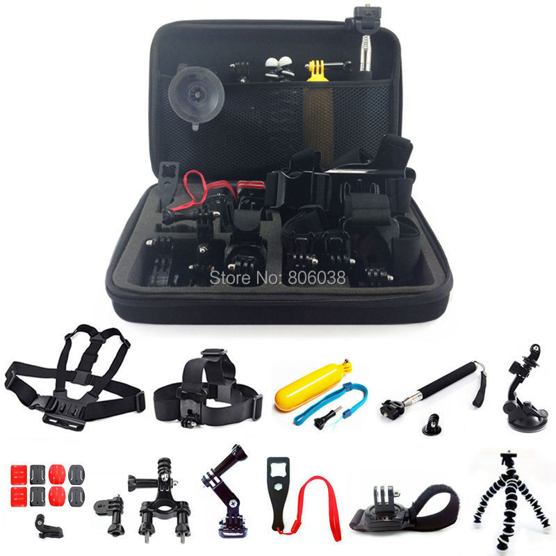Gopro Accessories 12 in 1 kit Monopod Pole Floating Head Chest Mount Accessories For GoPro 2 3 3+ 4 SJ4000 Sport Camera <br><br>Aliexpress