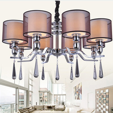 New Modern Crystal Chandelier Lighting Fabric Shade Chandeliers Lamp 8 Lights For Bedroom Dinning Room Living Room DP088-8(China (Mainland))
