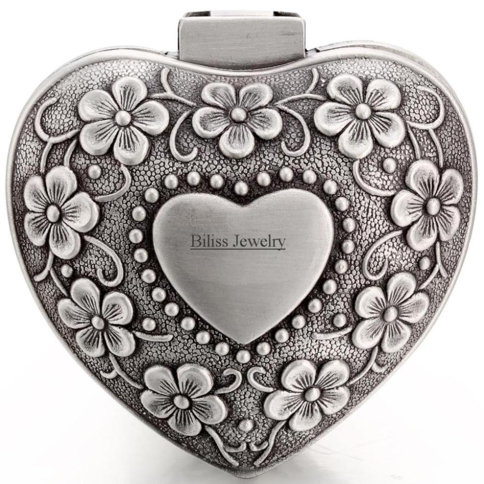 Vintage Flower Alloy Classical Heart Shape Small Jewellry Case Box Boxes Carrying Cases - Lady Gift Box 6cm*6cm*3.5cm(China (Mainland))