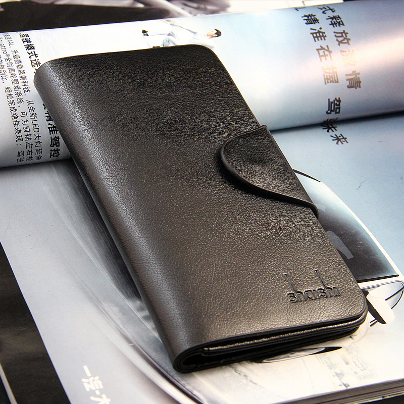 Hot Sale Classic style men wallets black brown red solid color mix leather long Card holders
