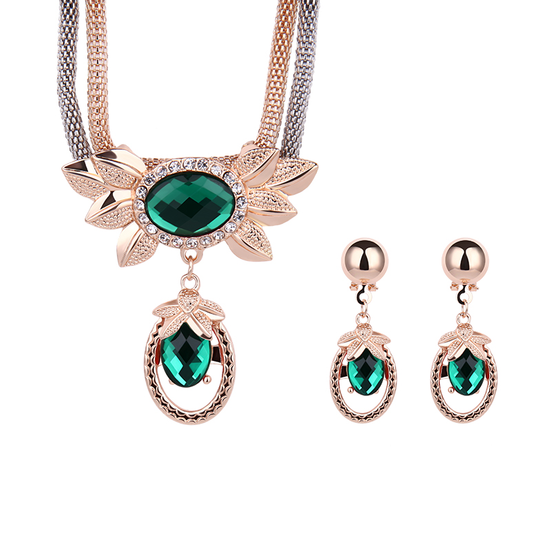 18K Gold Plated Austrian Crystal Necklace Earrings African Jewelry Sets New Fashion Women Wedding Jewelry Sets & More Wholesale(China (Mainland))