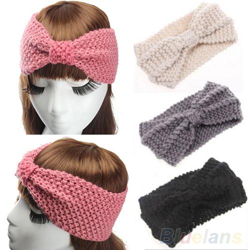 Women Crochet Bow Turban Knitted Headwrap Hair Band Winter Ear Warmer Headband 2MCW 3FOY(China (Mainland))
