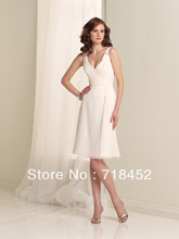 Short Chiffon Bridesmaid Dresses Affordable V Neck Shoulder Straps Beaded Free Shipping BY342(China (Mainland))