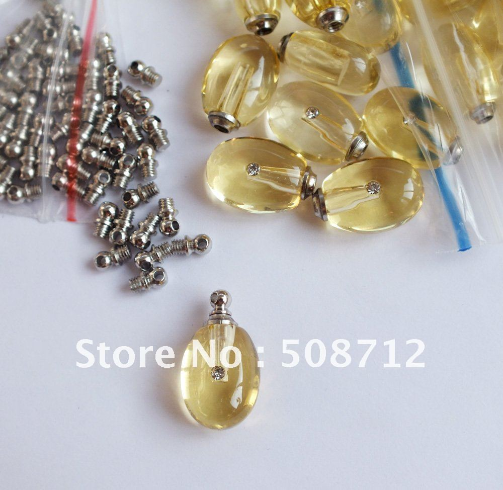Free shipping!!!Tear Drop yellow Perfume Vials,,Crystal Vial pendant,crystal trinket pendant(China (Mainland))