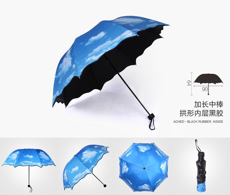 Free Shipping 2016 News Blue sky folding umbrella shade uv vinyl female sun umbrella sun umbrella blue sky white clouds umbrella(China (Mainland))