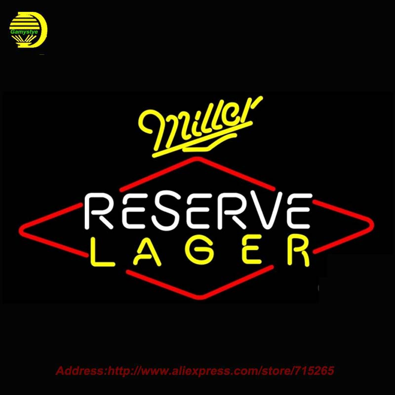 Miller Reserve Lager Beer Light NEON SIGN Neon Bulb Handcrafted Recreation Room Neon Glass Tube Affiche Neon Window Lights 37x20(China (Mainland))
