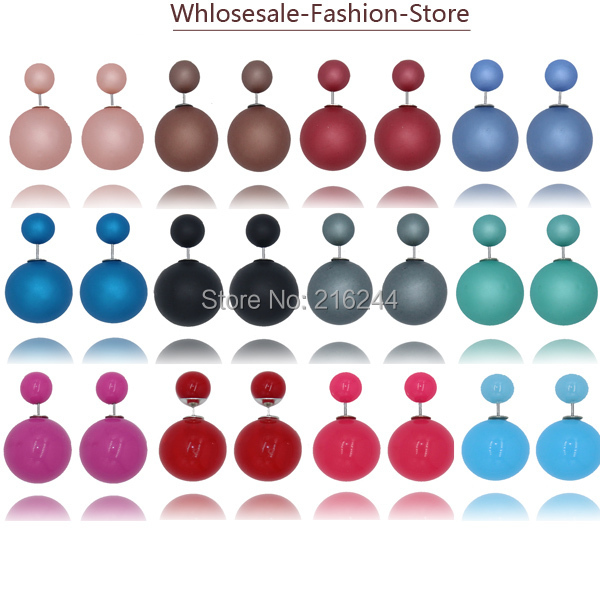 2015 New Fashion Paragraph Hot Selling Earrings Double Side Shining Pearl(16mm) Stud Earrings Big Pearl Earrings For Women(China (Mainland))