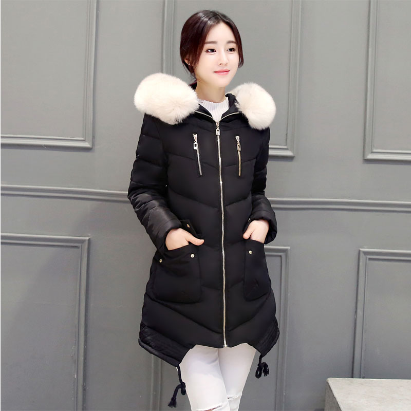 Winter Down Jackets Women Thick Down Coat Warm 2016 New Long Fur Collar Hood Coat Slim Down Cotton Padded Women Parka Coat(China (Mainland))