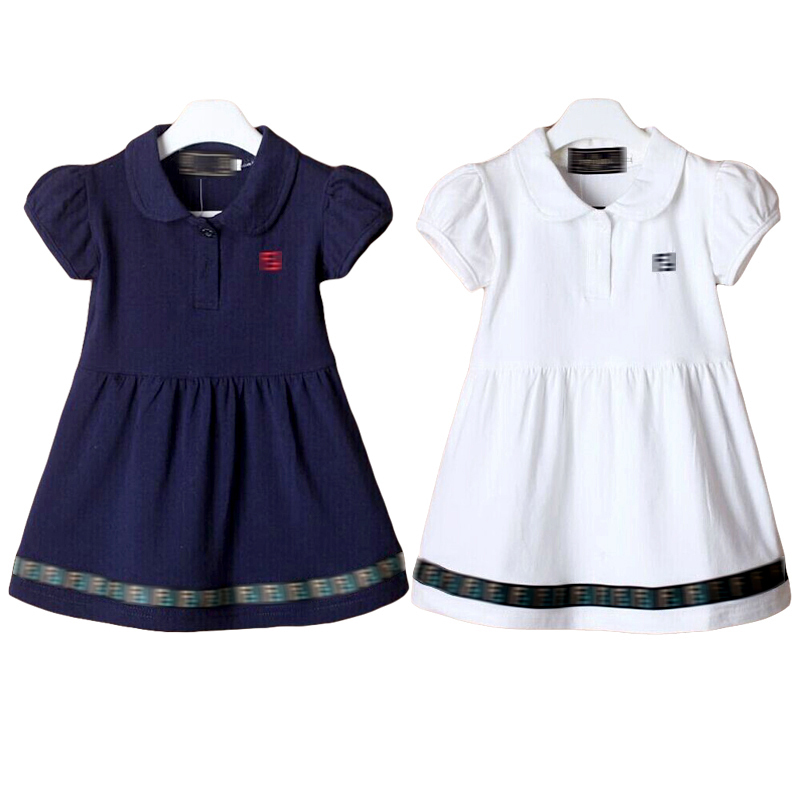brand kids dresses for girls summer 2015 England Style Puff Sleeve polo baby girls dress clothes teenager girls party dress(China (Mainland))