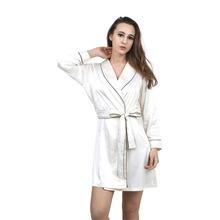 High Grade Satin Chiffon Robe Solid Spring Summer Sexy  Women Bathrobe Home Clothes Sleepwear Bath Robes Women's Dressing Gown(China (Mainland))