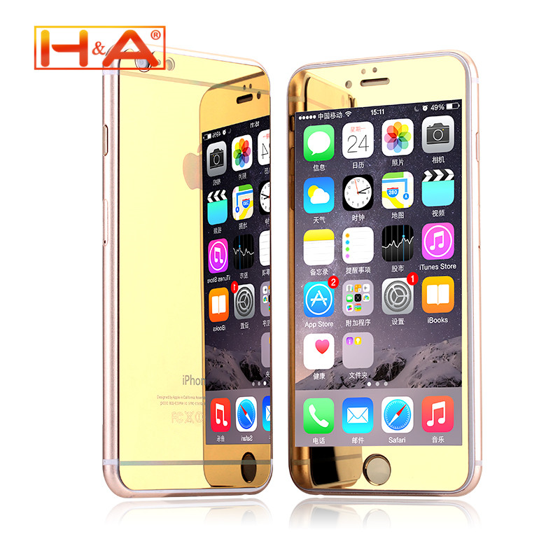 front and back Premium Mirror Electroplating Tempered Glass Screen Protector For iPhone 6 6plus 5 5s 4 4s case cover 2 pcs/lot(China (Mainland))
