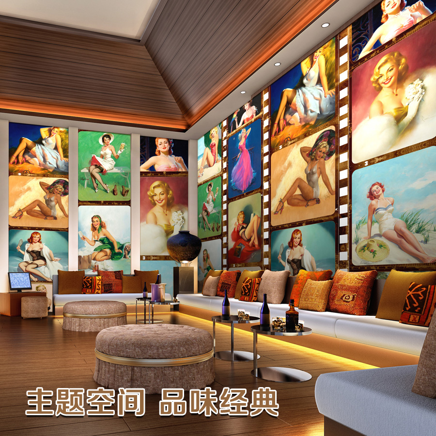 Large mural theme space ktv bar cafe shop wallpaper 3d tv for Cafe mural wallpaper